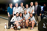 14 APR 2012: The Farileigh Dickson University team poses with the second place trophy during the Division I Womens Bowling Championship held at Freeway Lanes in Wickliffe, OH.  The University of Maryland Eastern Shore defeated Fairleigh Dickinson 4-2 to win the national title.  Jason Miller/NCAA Photos