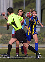 Action from the 2018 Women's Capital Division One football match between North Wellington New World Churton (blue and yellow) and Kapiti Coast United Reserves at Alex Moore Park in Wellington, New Zealand on Sunday, 15 April 2018. Photo: Dave Lintott / lintottphoto.co.nz