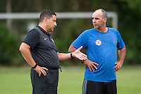 Orlando, FL - Friday Oct. 14, 2016:   Coaching instructor Santo Rivas provides instruction to a candidate during a US Soccer Coaching Clinic in Orlando, Florida.