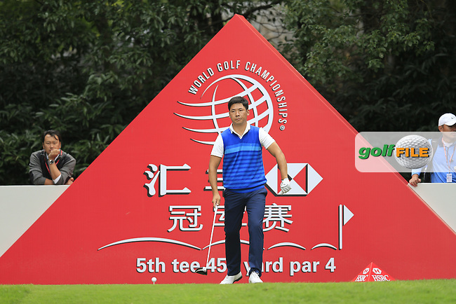 Zhang Xinjun (CHN) on the 5th tee during the final round of the WGC-HSBC Champions, Sheshan International GC, Shanghai, China PR.  30/10/2016<br /> Picture: Golffile | Fran Caffrey<br /> <br /> <br /> All photo usage must carry mandatory copyright credit (&copy; Golffile | Fran Caffrey)