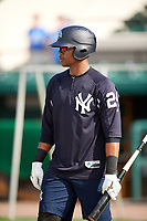Tampa Tarpons right fielder Isiah Gilliam (24) during batting practice before a game against the Lakeland Flying Tigers on April 5, 2018 at Publix Field at Joker Marchant Stadium in Lakeland, Florida.  Tampa defeated Lakeland 4-2.  (Mike Janes/Four Seam Images)