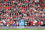 Stretford End watches Manchester City celebrate their second goal during the Premier League match at Old Trafford Stadium, Manchester. Picture date: September 10th, 2016. Pic Simon Bellis/Sportimage