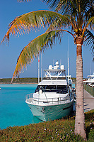 Yaght tied up at the only marina on Sampson Cay, Exuma Islands, Bahamas. PR (for yaght on right in foreground