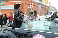 The annual Rondy parade features a huge variety of organizations, civic groups, corporations, and schools;   it winds through downtown Anchorage, Alaska, as part of the 2013 Fur Rendezvous festival.