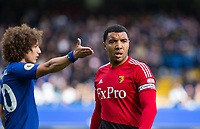 Troy Deeney of Watford & David Luiz of Chelsea during the Premier League match between Chelsea and Watford at Stamford Bridge, London, England on 21 October 2017. Photo by Andy Rowland.