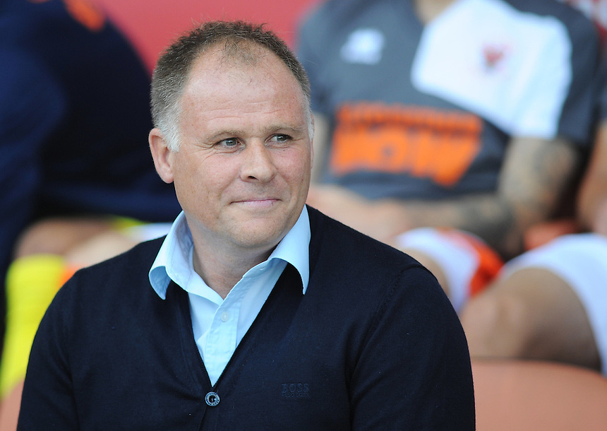 Blackpool manager Neil McDonald before kick-off<br /> <br /> Photographer Kevin Barnes/CameraSport<br /> <br /> Football - The Football League Sky Bet League One - Blackpool v Rochdale - Saturday 15th August 2015 - Bloomfield Road - Blackpool<br /> <br /> &copy; CameraSport - 43 Linden Ave. Countesthorpe. Leicester. England. LE8 5PG - Tel: +44 (0) 116 277 4147 - admin@camerasport.com - www.camerasport.com