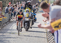 Philippe Gilbert (BEL/Quick Step floors) solo up the Taaienberg<br /> <br /> 101th Ronde Van Vlaanderen 2017 (1.UWT)<br /> 1day race: Antwerp &rsaquo; Oudenaarde - BEL (260km)