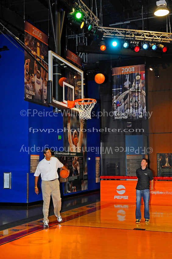 "30 September, 2010, Kansas City, Kansas USA.Brad Daugherty interviews Denny Hamlin on the ""Center Court"" of The College Basketball Experience for ESPN..©2010, F. Peirce Williams, USA."