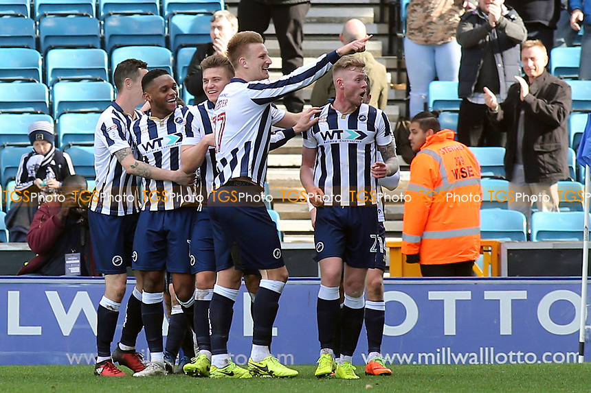 Aiden O'Brien celebrates scoring Millwall's third goal during Millwall vs Scunthorpe United, Sky Bet EFL League 1 Football at The Den on 1st April 2017