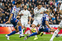 Real Madrid´s Cristiano Ronaldo and Deportivo de la Coruna's Celso Borges and Manuel Pablo during 2014-15 La Liga match between Real Madrid and Deportivo de la Coruna at Santiago Bernabeu stadium in Madrid, Spain. February 14, 2015. (ALTERPHOTOS/Luis Fernandez) /NORTEphoto.com