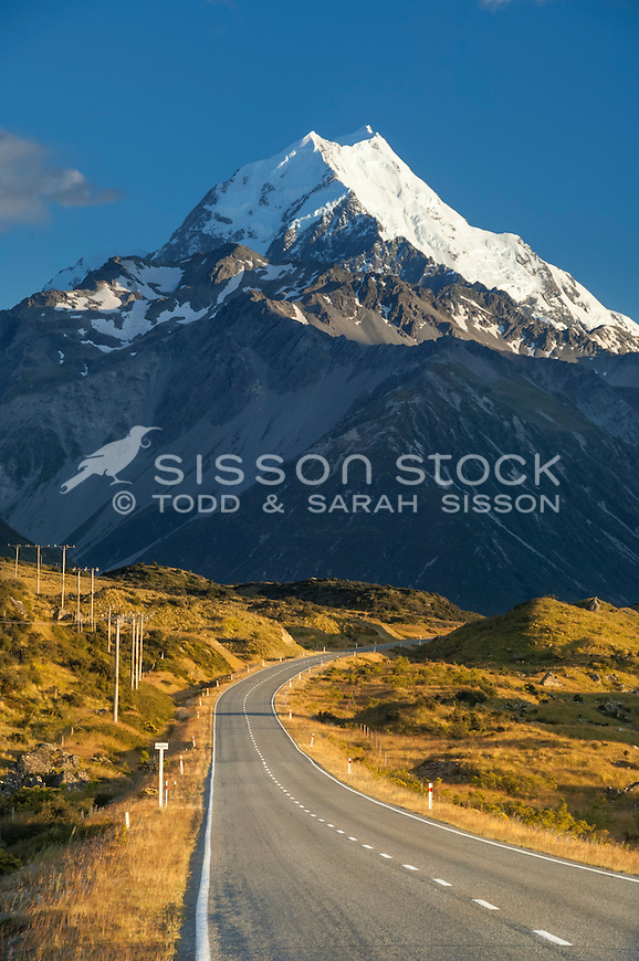 Spectacular view of Aoraki Mt Cook summit above SH80- road to Mt Cook village. (Vertical image)