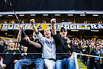 Solna 2015-04-26 Fotboll Allsvenskan AIK - &Ouml;rebro SK :  <br /> AIK:s supportrar &auml;r glada under matchen mellan AIK och &Ouml;rebro SK <br /> (Foto: Kenta J&ouml;nsson) Nyckelord:  AIK Gnaget Friends Arena Allsvenskan &Ouml;rebro &Ouml;SK supporter fans publik supporters glad gl&auml;dje lycka leende ler le jubel gl&auml;dje lycka glad happy