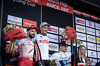 podium with:<br /> <br /> 1st place: Bryan Coquard (FRA/Vital Concept - B&B Hotels)<br /> 2nd palce: Nacer Bouhanni (FRA/Cofidis)<br /> 3th place: Alfdan De Decker (BEL/Wanty Groupe Gobert)<br /> <br /> <br /> GP Marcel Kint 2019 (BEL)<br /> One Day Race: Kortrijk – Zwevegem 188.10km. (UCI 1.1)<br /> Bingoal Cycling Cup 2019