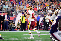 August 9, 2018: Washington Redskins quarterback Colt McCoy (12) drops back to pass the ball during the NFL pre-season football game between the Washington Redskins and the New England Patriots at Gillette Stadium, in Foxborough, Massachusetts. The Patriots defeat the Redskins 26-17. Eric Canha/CSM