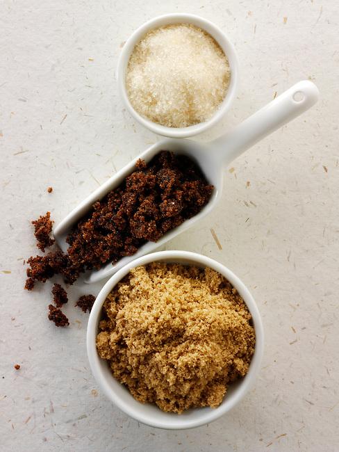 Raw sugar - from top - golden, Moscavado and demorera