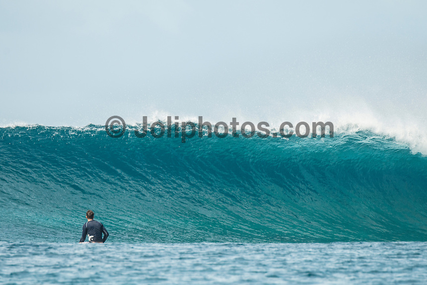 Four Seasons,Kuda Huraa, Maldives (Thursday, August 13, 2015) Sean Byrne (USA). The surf was still in the 6' range today from the South South East today with very clean conditions.  There was a session at the famed 'Sultans Point' with clean faces, big drops and some open barrels. The wind was light from the North West.  Photo: joliphotos.com