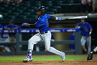 Jalen Phillips (22) of the Duke Blue Devils follows through on his swing against the Clemson Tigers in Game Three of the 2017 ACC Baseball Championship at Louisville Slugger Field on May 23, 2017 in Louisville, Kentucky. The Blue Devils defeated the Tigers 6-3. (Brian Westerholt/Four Seam Images)