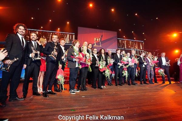 Utrecht, 5 oktober 2012.Nederlands Film Festival 2012.Gala van de Nederlandse Film.Gouden Kalf uitreiking, alle winnaars op het podium..Foto Felix Kalkman