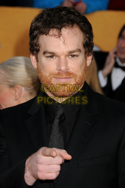 MICHAEL C. HALL.17th Annual Screen Actors Guild Awards held at The Shrine Auditorium, Los Angeles, California, USA..January 30th, 2011.SAG arrivals headshot portrait black beard facial hair hand finger pointing .CAP/ADM/BP.©Byron Purvis/AdMedia/Capital Pictures.