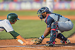 30 July 2016: Brooklyn Cyclones catcher Darryl Knight in action against the Vermont Lake Monsters at Centennial Field in Burlington, Vermont. The Lake Monsters defeated the Cyclones 7-1 in NY Penn League play. Mandatory Credit: Ed Wolfstein Photo *** RAW (NEF) Image File Available ***