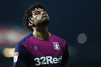 Tyrone Mings of Aston Villa shows his frustration at the end of the match after losing to a late goal during Brentford vs Aston Villa, Sky Bet EFL Championship Football at Griffin Park on 13th February 2019