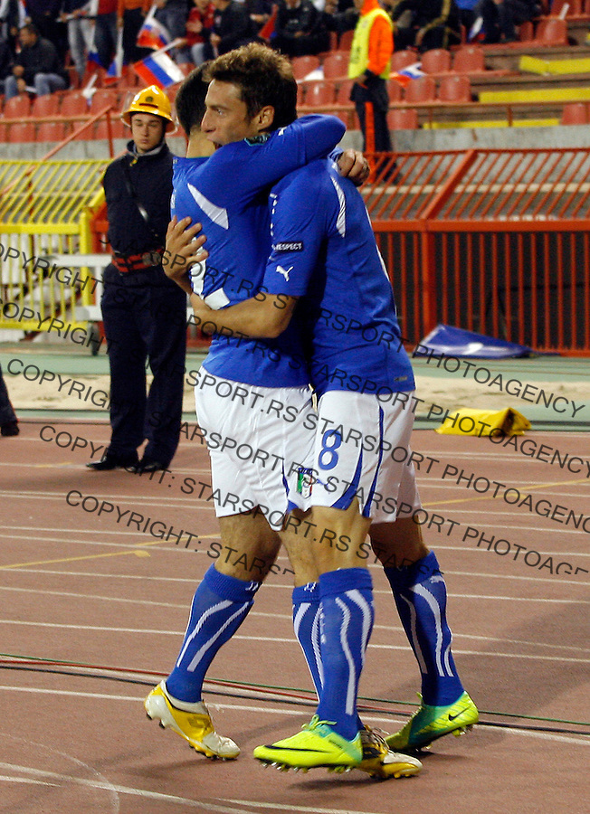Italian national football team players Marchisio Claudio and Rossi Giuseppe celebrate during group C UEFA EURO 2012 qualifying match Serbia vs Italy in Belgrade, Serbia, Friday, October 07, 2011. (photo: Pedja Milosavljevic)