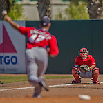 7 March 2013: Washington Nationals catcher Kurt Suzuki warms up starting pitcher Gio Gonzalez prior to a Spring Training game against the Houston Astros at Osceola County Stadium in Kissimmee, Florida. The Astros defeated the Nationals 4-2 in Grapefruit League play. Mandatory Credit: Ed Wolfstein Photo *** RAW (NEF) Image File Available ***