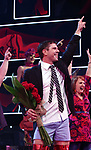 "Jake Shears takes his curtain call bows during his  Broadway Debut In ""Kinky Boots"" at the Al Hirschfeld Theatre on January 8, 2018 in New York City."