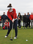 Junior lady Captain Grace Caine tees off at the captain's drive in at County Louth golf Club. Photo: Colin Bell/pressphotos.ie