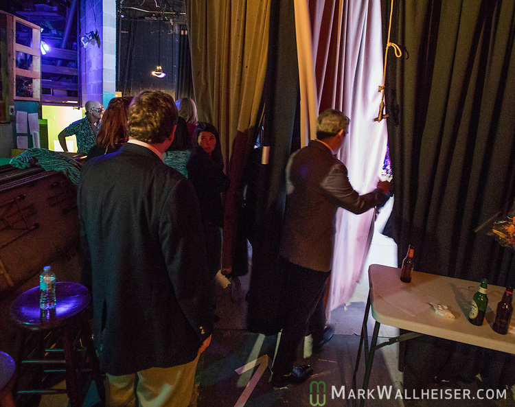 Members of the press wait to go on stage during the 62nd Annual Press Skits 2017, The Crony Awards, sponsored by the Florida Capitol Press Corps, held at The Moon in Tallahassee, Florida March 14, 2017.  The funds raised go to the Barbara Frye Scholarship Fund supporting Florida journalism students attending Florida schools.