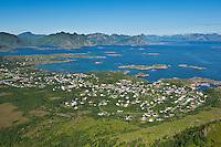 View from Steinstind mountain peak towards city of Stamsund, Vestvagoy, Lofoten islands, Norway
