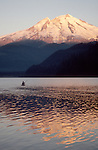 Kayaker, Mount Baker, Baker Lake, sunrise, Washington State, Cascade Mountains, Pacific Northwest, USA,..