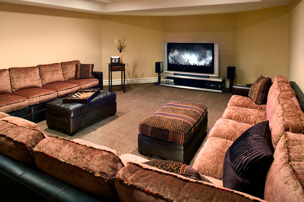 Basement Media Room with Extra Seating