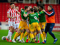 12th February 2020; Bet365 Stadium, Stoke, Staffordshire, England; English Championship Football, Stoke City versus Preston North End; James McClean of Stoke City and Ben Pearson of Preston North End have to be held apart