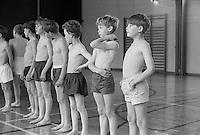 PE in the gym, Whitworth Comprehensive School, Whitworth, Lancashire.  1970.