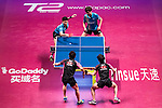 Masataka Morizono & Yuy Oshima (JPN) vs Youngsik Jeoung & Sangsu Lee (KOR) at the Men's Doubles Final match during the Seamaster Qatar 2016 ITTF World Tour Grand Finals at the Ali Bin Hamad Al Attiya Arena on 11 December 2016, in Doha, Qatar. Photo by Victor Fraile / Power Sport Images