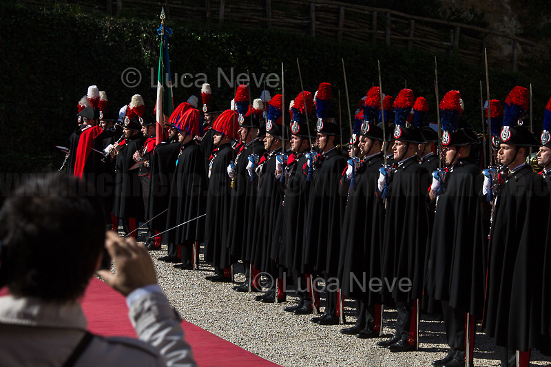 """Mobile...<br /> <br /> Carabinieri (historic uniform).<br /> <br /> Rome, 23/03/2019. The President of the People's Republic of China (General Secretary of the Communist Party of China, and Chairman of the Central Military Commission), Xi Jinping, meets the Italian Prime Minister Giuseppe Conte at Villa Madama during the second day of a three-day State visit to Italy. After the arrival of Xi Jinping greeted with the full honors at the splendid Renaissance Villa designed by Raffaello Sanzio, the Chinese delegation and the Italian delegation led by the Luigi Di Maio (Deputy Prime Minister, Minister of Economic development, Labour and Social Policies, and leader of the Five Star Movement) signed a memorandum of understanding - 29 separate protocols - supporting the """"Belt and Road"""" initiative (part of the """"New Silk Road Project"""") as the first of the Seven major economies in the world. Luigi Di Maio stated that """"the value of individual deals signed amounts to about 2,5 billion euros, with the potential to grow to about 20 billion euros""""."""