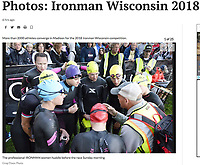 The professional IRONMAN women huddle before the race Sunday morning, 9/9/18, at Law Park in Madison, Wisconsin | Article in Wisconsin State Journal Sports 9/10/18, online at https://madison.com/wsj/sports/madison-native-finishes-fourth-in-ironman-ex-illinois-track-athlete/article_ae194152-db25-549f-afad-af9edd4db441.html with gallery at https://madison.com/gallery/sports/photos-ironman-wisconsin/collection_5c7adef8-5a93-55ba-b5f4-08c518fd23fd.html