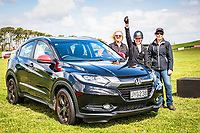NZL-Virginia Thompson is presented with a brand new vehicle from Nadine Bell, Director of Marketing and Lisa Campbell, Sponsorship Manager for Honda New Zealand for winning the CCI3* for the second consecutive year (Final-1ST). 2016 NZL-Puhinui International 3 Day Event. Puhinui Reserve, Auckland. Sunday 11 December. Copyright Photo: Libby Law Photography