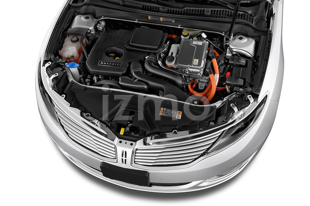 High angle engine detail of a  2013 Lincoln MKZ Hybrid Sedan