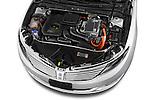 High angle engine detail of a  2013 Lincoln MKZ Hybrid Sedan