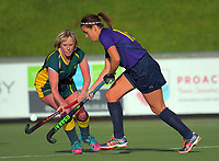 Action from the Wellington Hockey women's open grade premier two match between Victoria University 2 (green) and Kapiti 2 (purple) at National Hockey Stadium in Wellington, New Zealand on Sunday, 19 May 2019. Photo: Dave Lintott / lintottphoto.co.nz