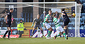 17th March 2019, Dens Park, Dundee, Scotland; Ladbrokes Premiership football, Dundee versus Celtic; John OSullivan of Dundee tests Scott Bain of Celtic with a shot from distance