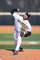 VCU Rams relief pitcher Daniel Concepcion (32) delivers a pitch to the plate against the Georgetown Hoyas at Wake Forest Baseball Park on February 13, 2015 in Winston-Salem, North Carolina.  The Rams defeated the Hoyas 6-3.  (Brian Westerholt/Four Seam Images)