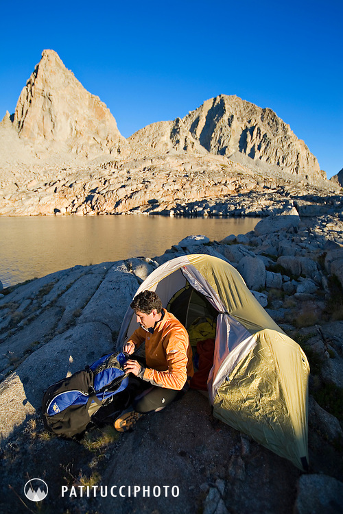 Keith Glidewell in his solo camp while on a backpacking trip in Dusy Basin, Sequoia Kings Canyon National Park, California