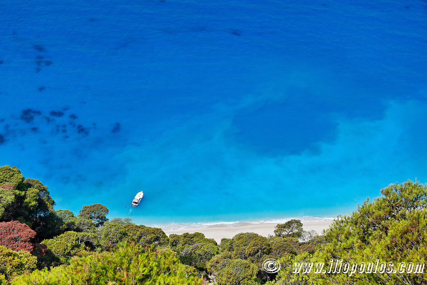 The incredible colors of the beach Egremnoi in Lefkada, Greece