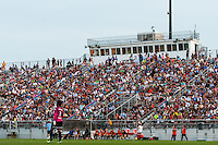 fans watch the game. Sky Blue FC and the Portland Thorns played to a 0-0 tie during a National Women's Soccer League (NWSL) match at Yurcak Field in Piscataway, NJ, on June 22, 2013.