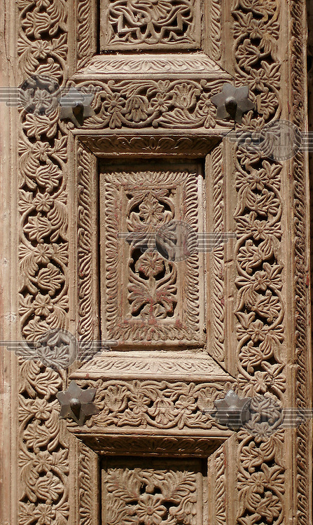 Decorated doorway. Turquoise Mountain Foundation is working to preserve Afghanistan's traditional crafts and historical buildings. In Kabul, work has started in the historic Murad Khane part of Kabul, and is largely completed in the royal Kart-e-Parwan fort.