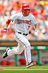 30 June 2005: Brad Wilkerson, outfielder for the Washington Nationals, runs to first during a game against the Pittsburgh Pirates. The Nationals defeated the Pirates 7-5 to sweep the 3-game series at RFK Stadium in Washington, DC.  Mandatory Photo Credit: Ed Wolfstein