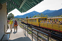 Europe/France/Languedoc-Roussillon/66/Pyrénées-Orientales/Cerdagne:Mont-Louis:  En gare, le Train jaune de Cerdagne appelé le Train Jaune ou le Canari, car les véhicules arborent les couleurs catalanes, le jaune et le rouge. -voiture  panoramique  découverte